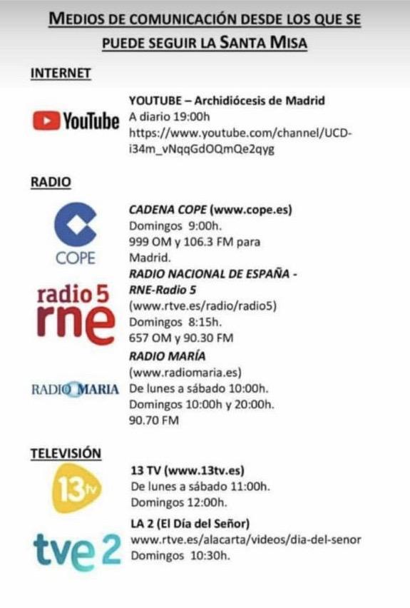 MISAS MEDIOS DE COMUNICACIÓN